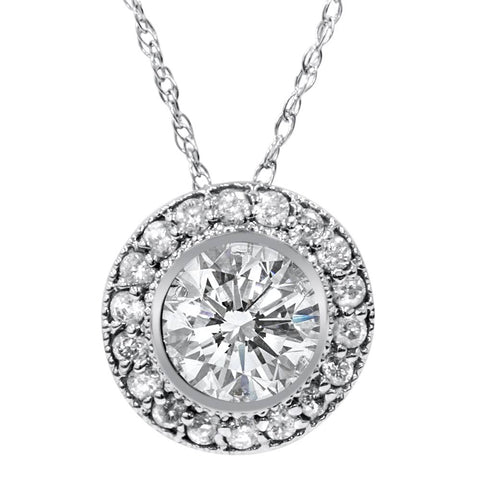 1ct Vintage Diamond Solitaire Halo Pendant 14K White Gold