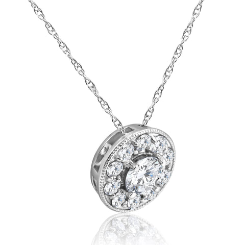 G SI 5/8ct Halo Diamond Solitaire Pendant 14K White Gold Vintage