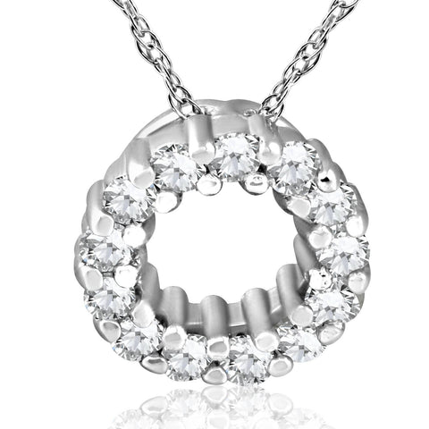 1/3ct Diamond Circle Pendant Solid 14K White Gold
