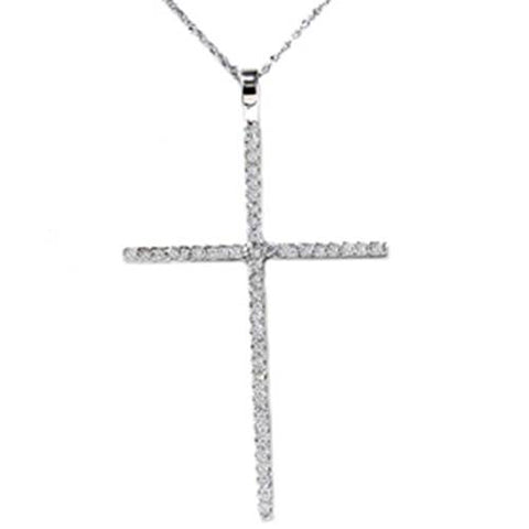 White Gold 3/4ct Genuine Diamond Cross Pendant Necklace