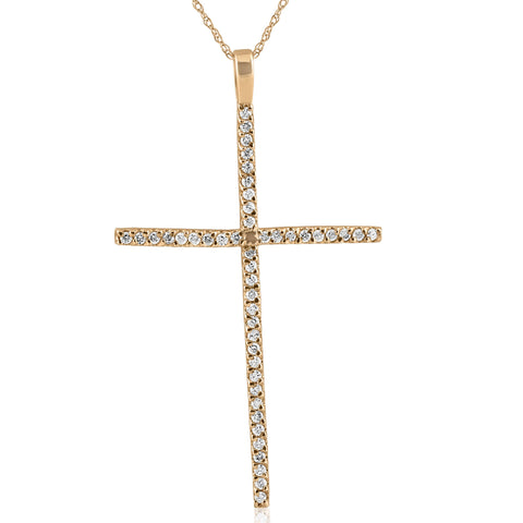 "3/4ct Pave Diamond Cross 14K Yellow Gold 2"" Tall"