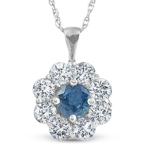 1 1/4ct Blue Sapphire & Diamond Halo Pendant 14K White Gold