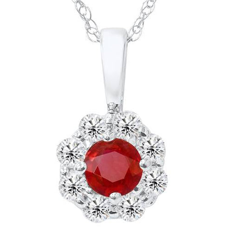 1ct Diamond Halo Ruby Pendant 14K White Gold