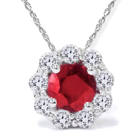 1 1/4ct Ruby Diamond Halo Pendant 14K White Gold