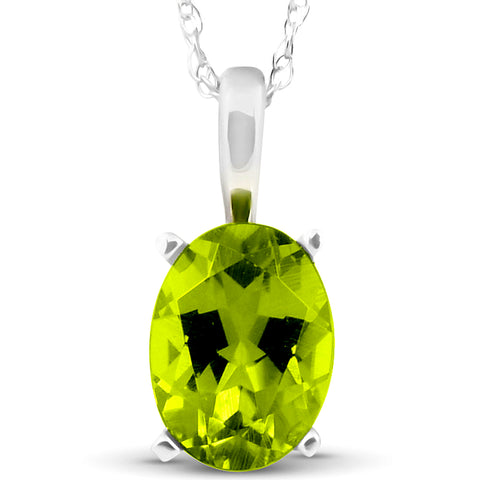 "Women's 2ct Oval Shape Peridot Solitaire Pendant 14K White Gold With 18"" Chain"