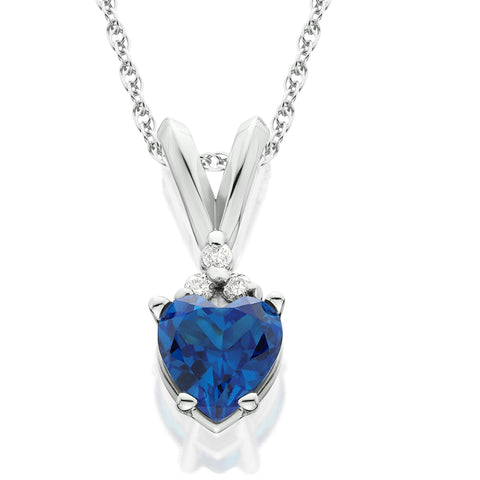 1/2ct Diamond & Simulated Blue Sapphire Heart Pendant 14K White Gold