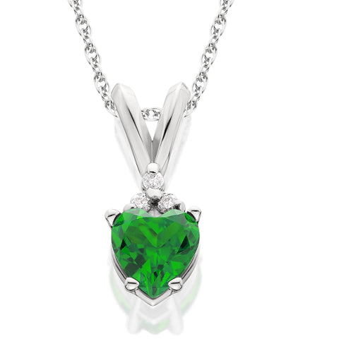 1/2ct Diamond & Emerald Heart Pendant 14K White Gold