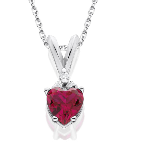 1/2ct Diamond & Simulated Ruby Heart Pendant 14K White Gold