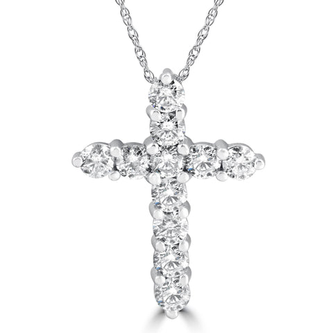"Upgraded Chain 3.00Ct Diamond Cross Pendant 18K White Gold Brilliant 1""Tall"