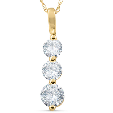 1 ct Three Stone Past Present Future 3 Diamond Pendant 14k yellow gold