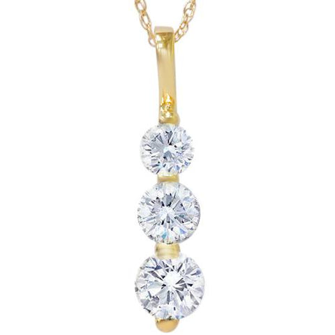1ct Three Stone Past Present Future Diamond Pendant 14k yellow gold