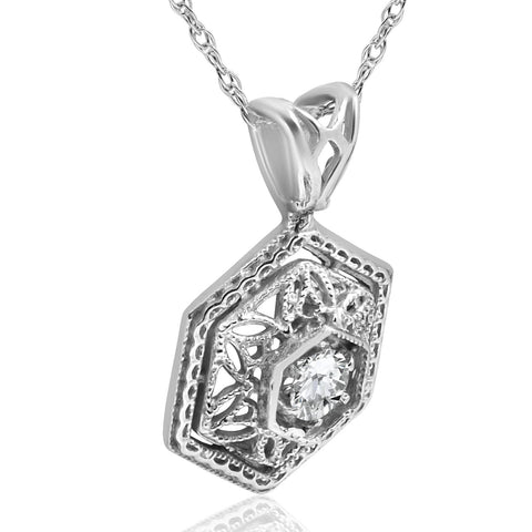 SI/G Solitaire Lab Grown Diamond Vintage Pendant .12Ct 14K White Gold 17.65mm