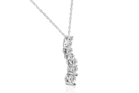 1/2ct Diamond Journey Pendant 14K White Gold