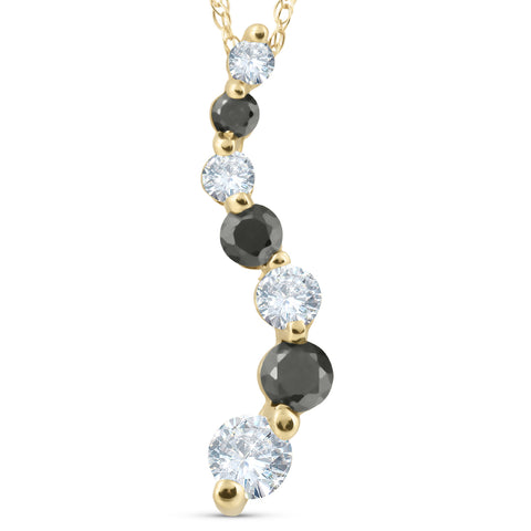 1/2ct Black & White Diamond Journey Pendant 14k Yellow Gold