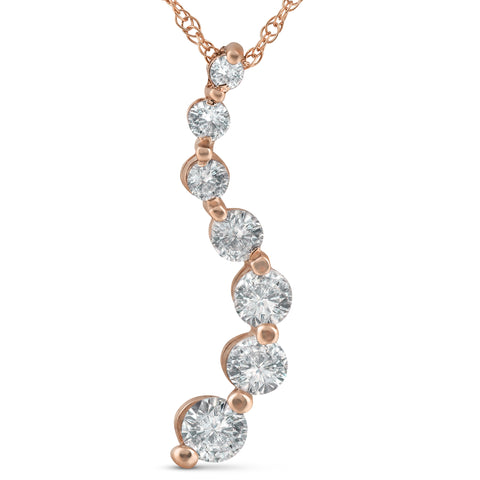 1 ct TDW Diamond Journey Pendant 14k Rose Gold