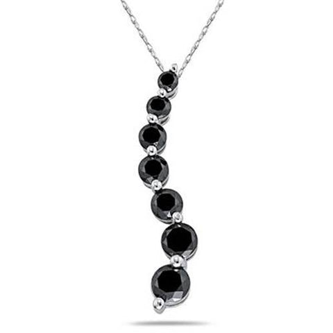 3ct Black Diamond Journey Pendant 14K White Gold