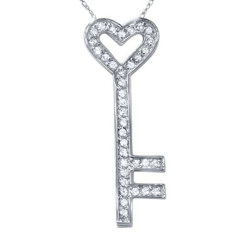 1/2ct Real Diamond 14K White Gold Key Pendant Necklace