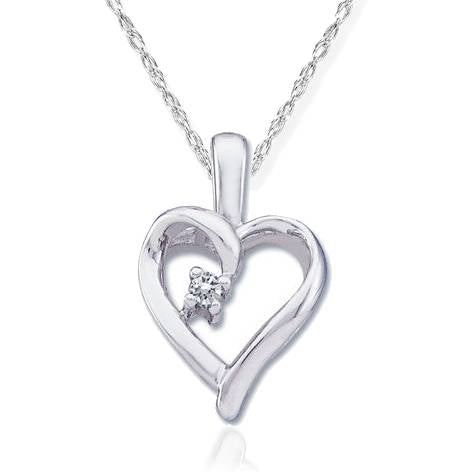 "Diamond Solitaire Heart Pendant 14K White Gold With 18"" Chain"