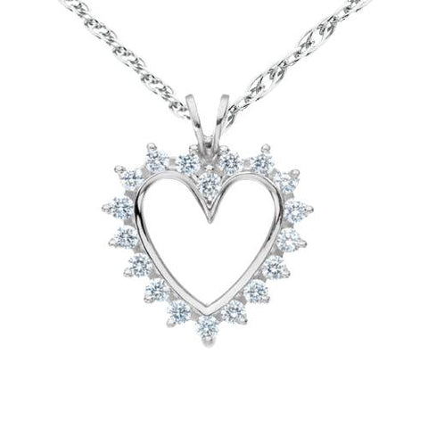 1/2 Ct Diamond 14K White Solid Gold 1 Inch Heart Pendant Necklace