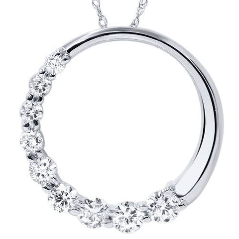 1ct Circle Journey Real Diamond Pendant White Gold