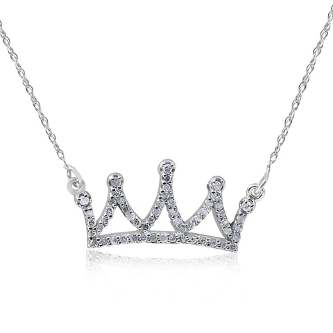 "14kt White 1/6ctW Diamond Petite Crown 16.45"" Necklace"