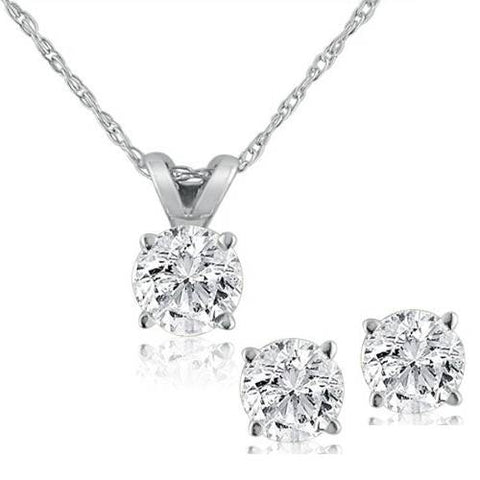 "14K White Gold 1.00 Ct Diamond Pendant and Earring Set with 18"" Chain"