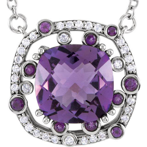4ct Amethyst & Diamond Modern Halo Pendant 14K White Gold