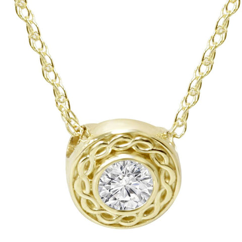 1 1/10 Ct Solitaire Round Diamond Braided Pendant 14K Yellow Gold 6mm Small