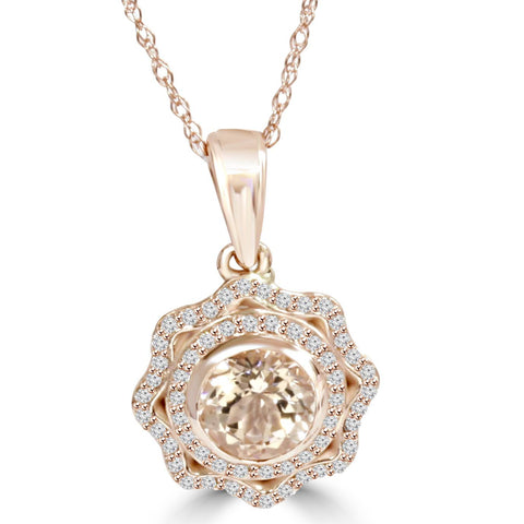 1Ct Morganite & Natural Diamond Vintage Double Halo Pendant 14K Rose Gold