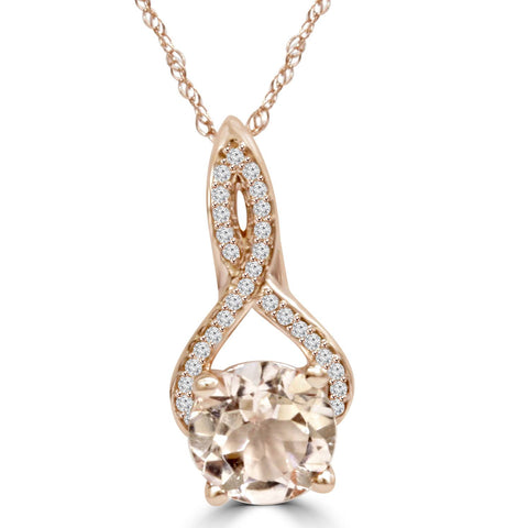 8MM Morganite & Natural Diamond Vintage Infinity Pendant 14K Rose Gold 1 3/4tw