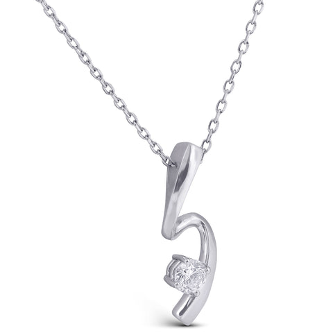 1/4ct Solitaire Diamond 14k White Gold Freeform Pendant & Chain Womens Jewelry