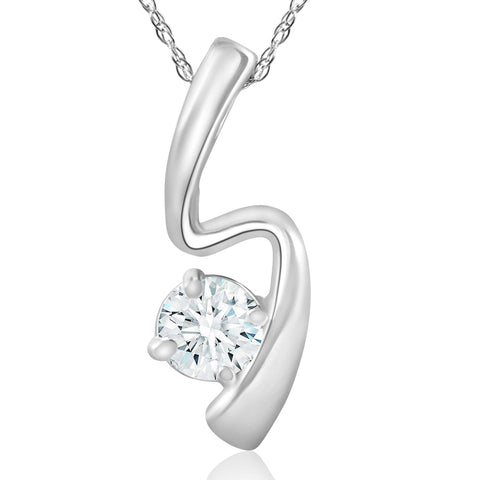 1/2ct Solitaire Round Diamond 14k White Gold Pendant & Chain Womens Jewelry