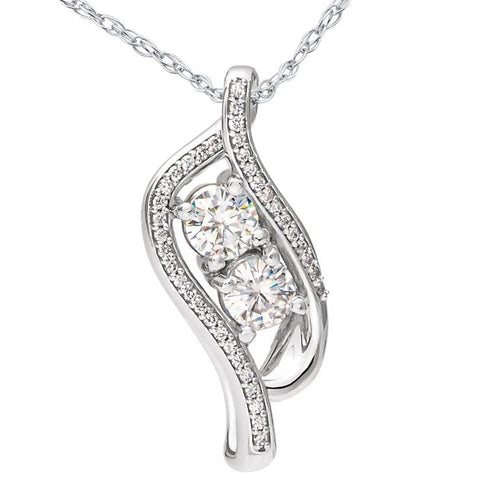 "1 1/2 ct Two Stone Forever Us Diamond Pendant 14k White Gold 1"" Tall"