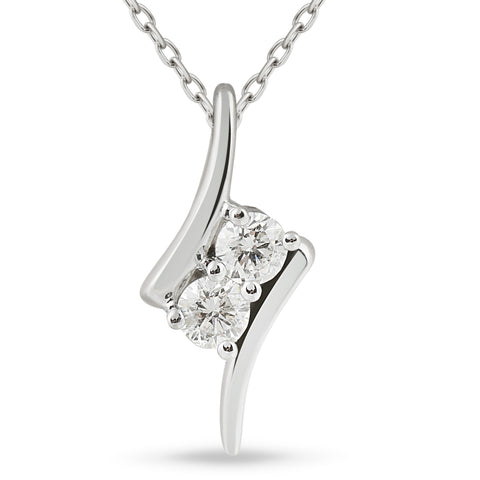 "3/8ct Two Stone Diamond Forever Us Solitaire Pendant 14k White Gold 18"" Chain"