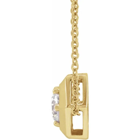 G/VS Yellow Gold 1/2ct Lab Created Diamond Solitaire Geometric Pendant Necklace