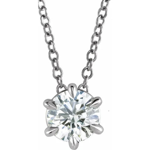 "14K White Gold 1/2ct Floating Solitaire Round Diamond Pendant 18"" Necklace"