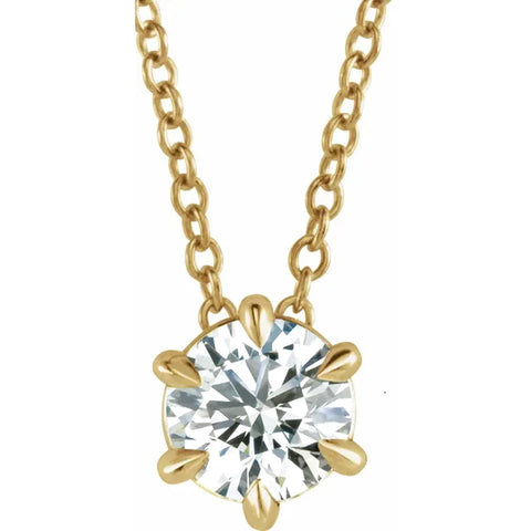 G/SI 14K Yellow Gold 1/4ct Solitaire EX3 Lab Grown Diamond Pendant Necklace