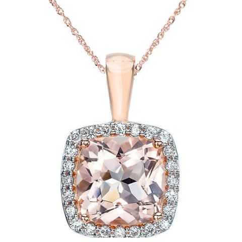 1 1/10ct Morganite Cushion Halo Diamond Pendant 14K Rose Gold
