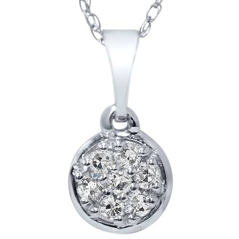 "1/16ct Pave Diamond Solitaire Cluster Dangle Pendant 14K White Gold 1/2"" Tall"