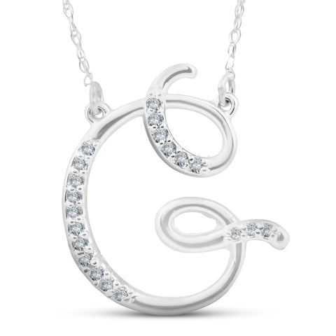 "Diamond ""G"" Initial Pendant 18"" Necklace 14K White Gold"