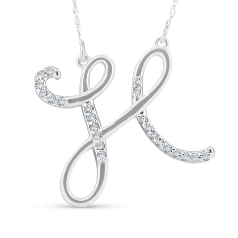 "Diamond ""H"" Initial Pendant 18"" Necklace 14K White Gold"