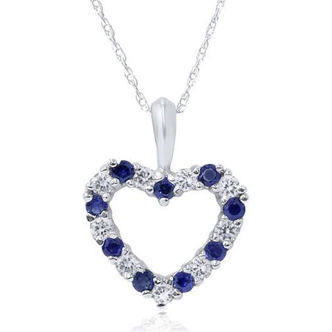 1/2ct Blue Sapphire & Diamond Heart Pendant 14 Karat White Gold