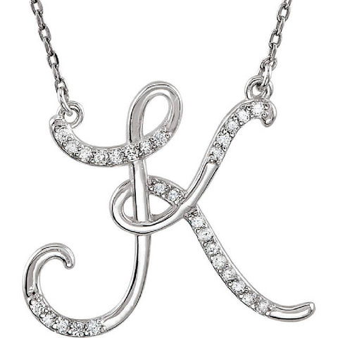 "Diamond ""K"" Initial Pendant 18"" Necklace 14K White Gold"