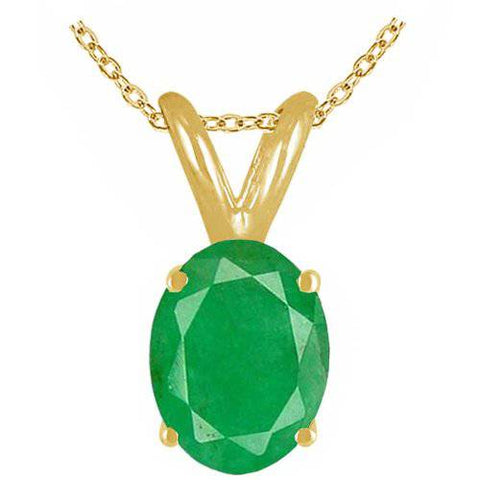 Womens Fashion 1ct Genuine Oval Emerald Solitaire Pendant 14K Yellow Gold