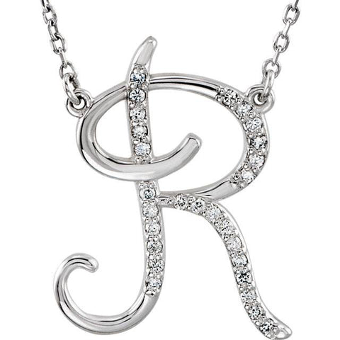 "Diamond ""R"" Initial Pendant 18"" Necklace 14K White Gold"