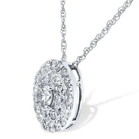 Women's 2 1/4ct Diamond Double Halo Studs & Matching Pendant Set 14K White Gold