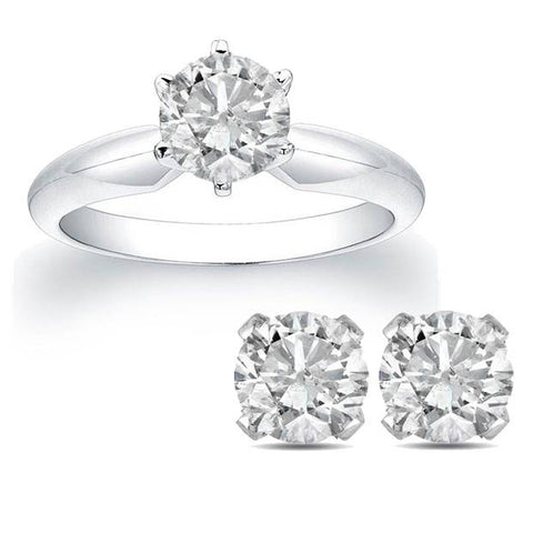 2ct Diamond Solitaire Engagement Ring & Matching Round Cut Studs 14K White Gold