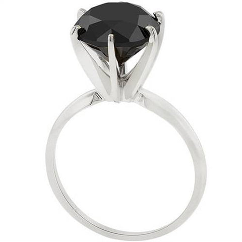 5ct Black Diamond Solitaire Engagement Ring & Studs 14K White Gold