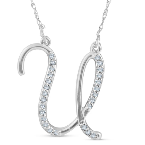 "Diamond ""U"" Initial Pendant 18"" Necklace 14K White Gold"