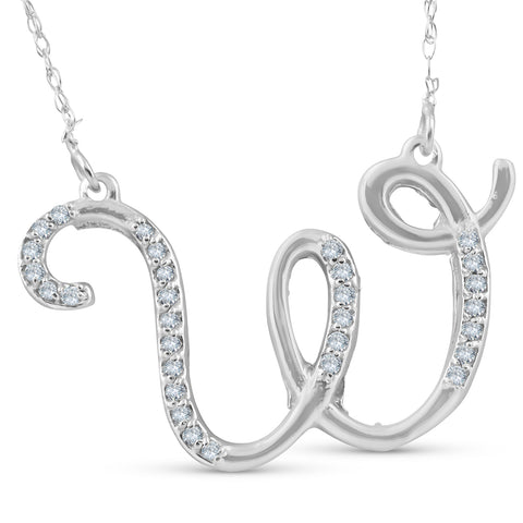 "Diamond ""W"" Initial Pendant 18"" Necklace 14K White Gold"
